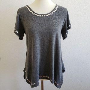 MINKPINK Grey Studded Asymmetrical Hem Top Size S